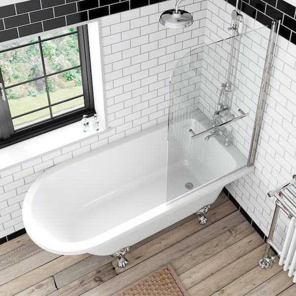 Dulwich Freestanding Shower Bath and Bath Screen with Rail