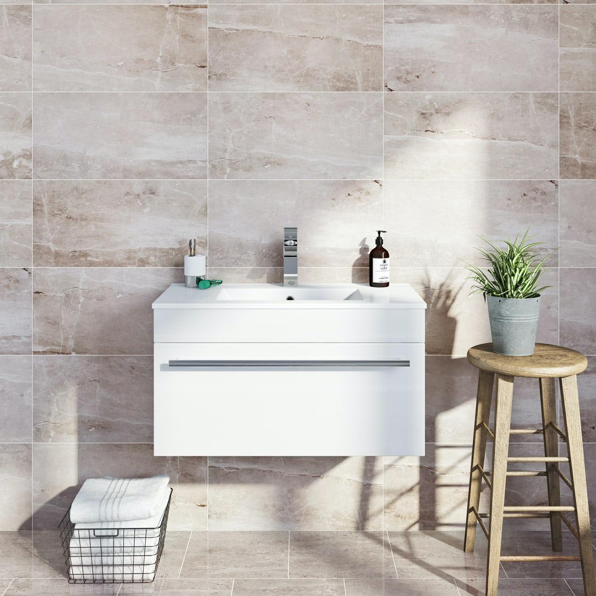 British Ceramic Tile Earth Marble Effect Grey Matt Tile