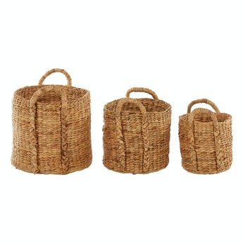 Accents Set of 3 rice nut weave water hyacinth storage baskets with handles