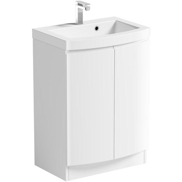 Mode Harrison white floorstanding vanity door unit and basin 600mm with tap