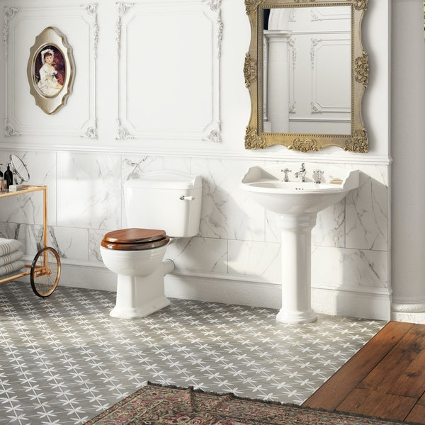 The Bath Co. Charlet close coupled toilet and full pedestal suite with chrome fittings and taps