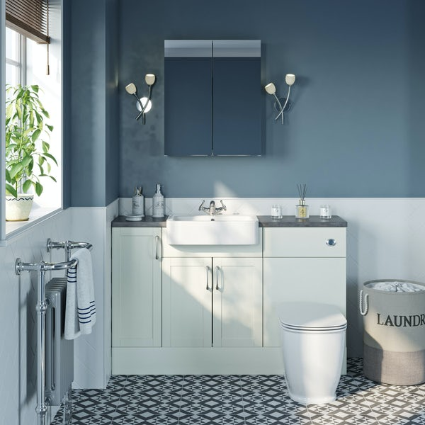 The Bath Co. Newbury white small fitted furniture & mirror combination with mineral grey worktop