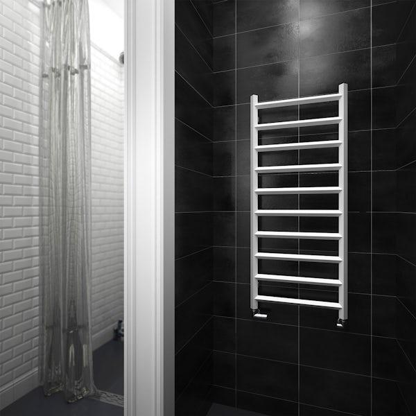 Terma Crystal white designer towel rail 1200 x 500