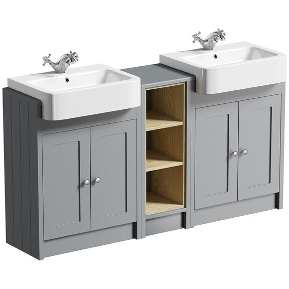Bathroom Vanity Units B Q: The Bath Co. Dulwich Stone Grey Floorstanding Double