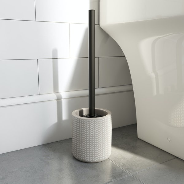 Accents ceramic grey patterned toilet brush holder