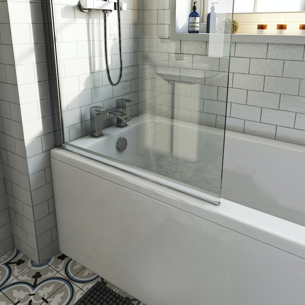 Orchard square edge shower bath with 8mm hinged shower screen and rail
