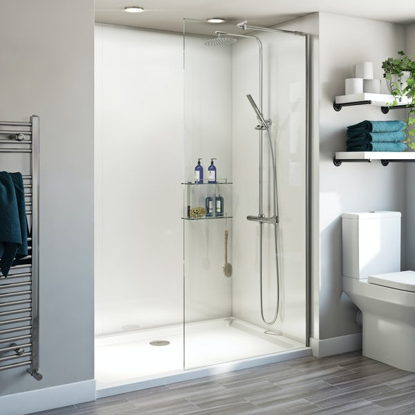 orchard 6mm walk in glass panel with stone shower tray. Black Bedroom Furniture Sets. Home Design Ideas