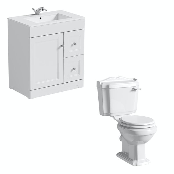 The Bath Co. Winchester close coupled toilet and white vanity unit suite 800mm