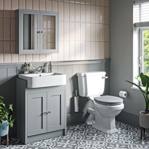 Orchard Dulwich close coupled toilet and stone grey vanity unit suite 600mm