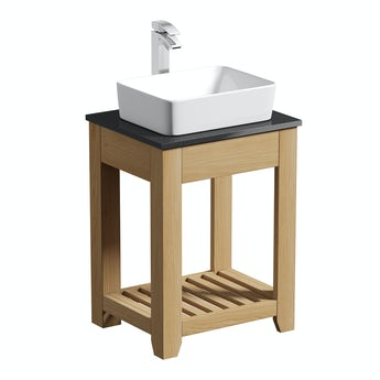 The Bath Co. Hoxton oak washstand with black marble top 600mm with Ellis countertop basin