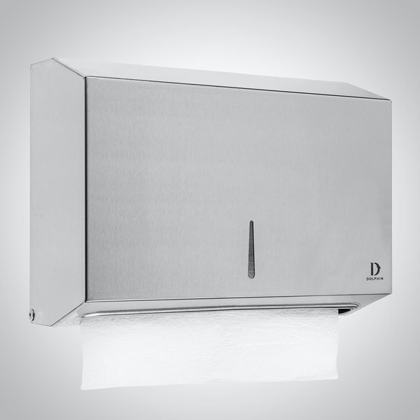 Dolphin commercial satin stainless steel mini paper towel dispenser