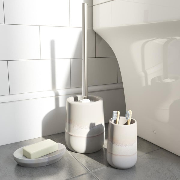Accents Marloes grey ombre ceramic 3 piece bathroom set with soap dish