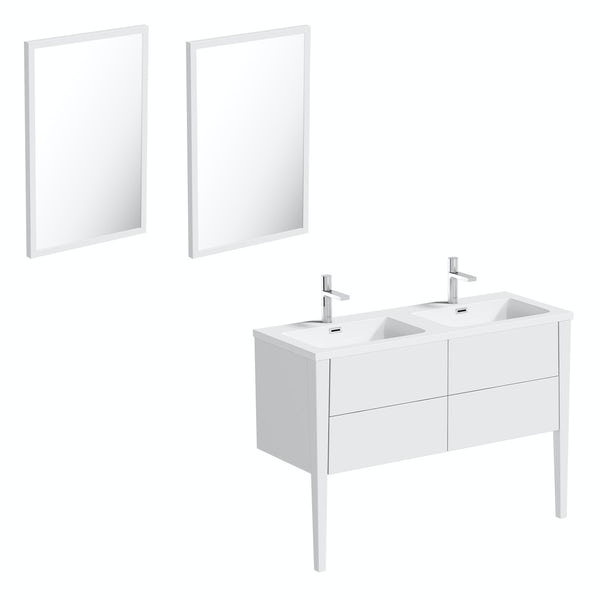 Mode Hale white gloss double basin vanity unit 1200mm with mirrors
