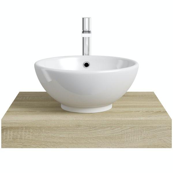 Mode Orion oak wall hung countertop basin shelf