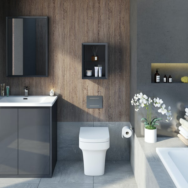 Mode Larsen grey gloss open storage 250 x 320mm
