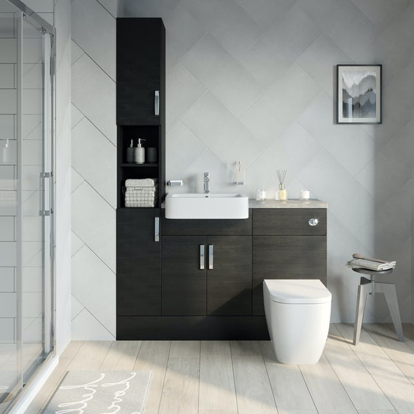 Reeves Nouvel quadro black tall fitted furniture combination with mineral grey worktop