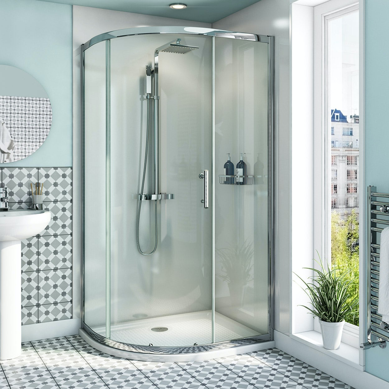 Orchard 6mm left handed offset quadrant shower enclosure with anti-slip tray 1000 x 800
