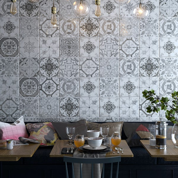 Nikea sephia mix pattern tile set 200mm x 200mm