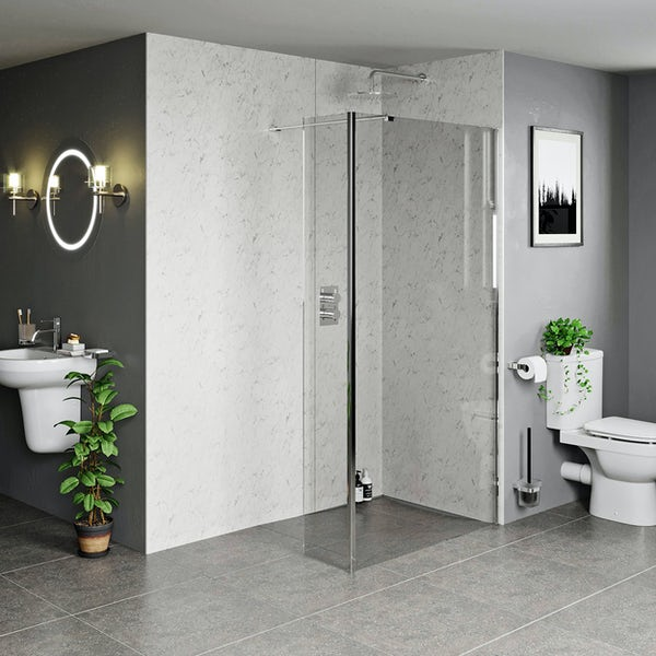 Mode 8mm wet room glass panel with overhead support bar and return panel