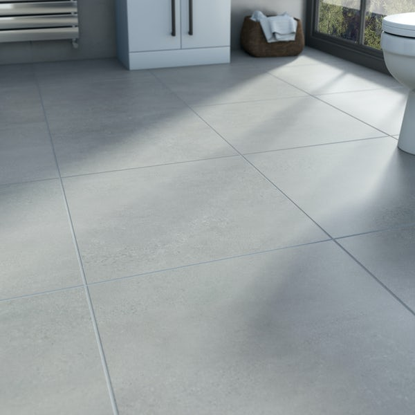 Edmonton light grey matt glazed porcelain wall tiles 600x600mm