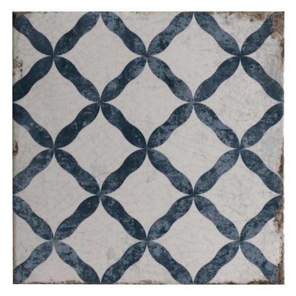 Aragon trellis blue matt wall and floor tile 200mm x 200mm