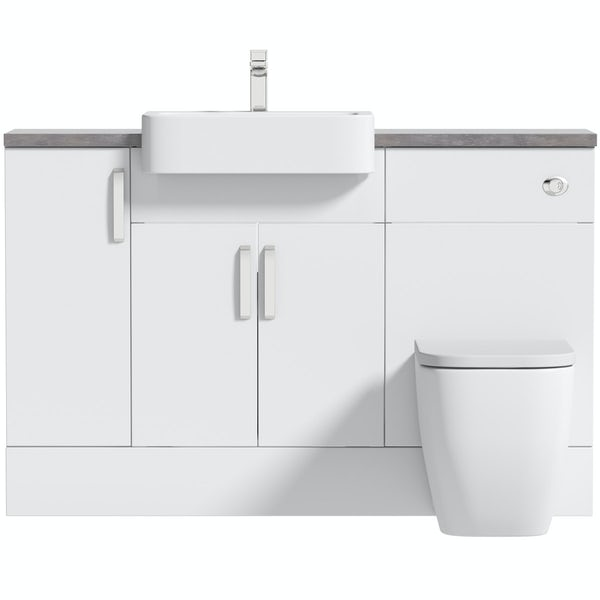 Mode Nouvel gloss white small fitted furniture combination with mineral grey worktop