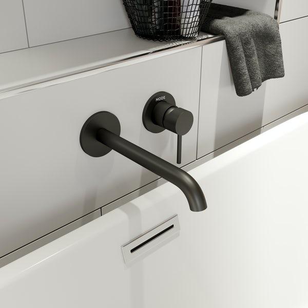 Mode Spencer round wall mounted black bath mixer tap