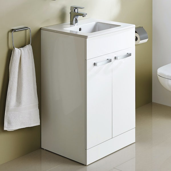 Ideal Standard Tempo gloss white vanity door unit and basin 600mm