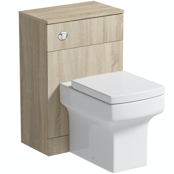 Orchard Wye oak back to wall unit and toilet with soft close seat