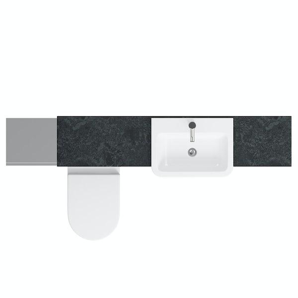 Orchard Wharfe slate matt grey straight medium storage fitted furniture pack with black worktop