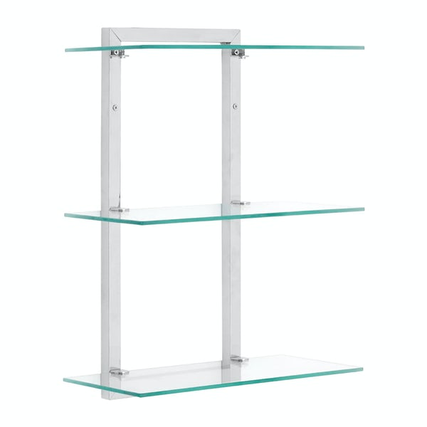 Wall mounted 3 tier 46cm glass shelf unit