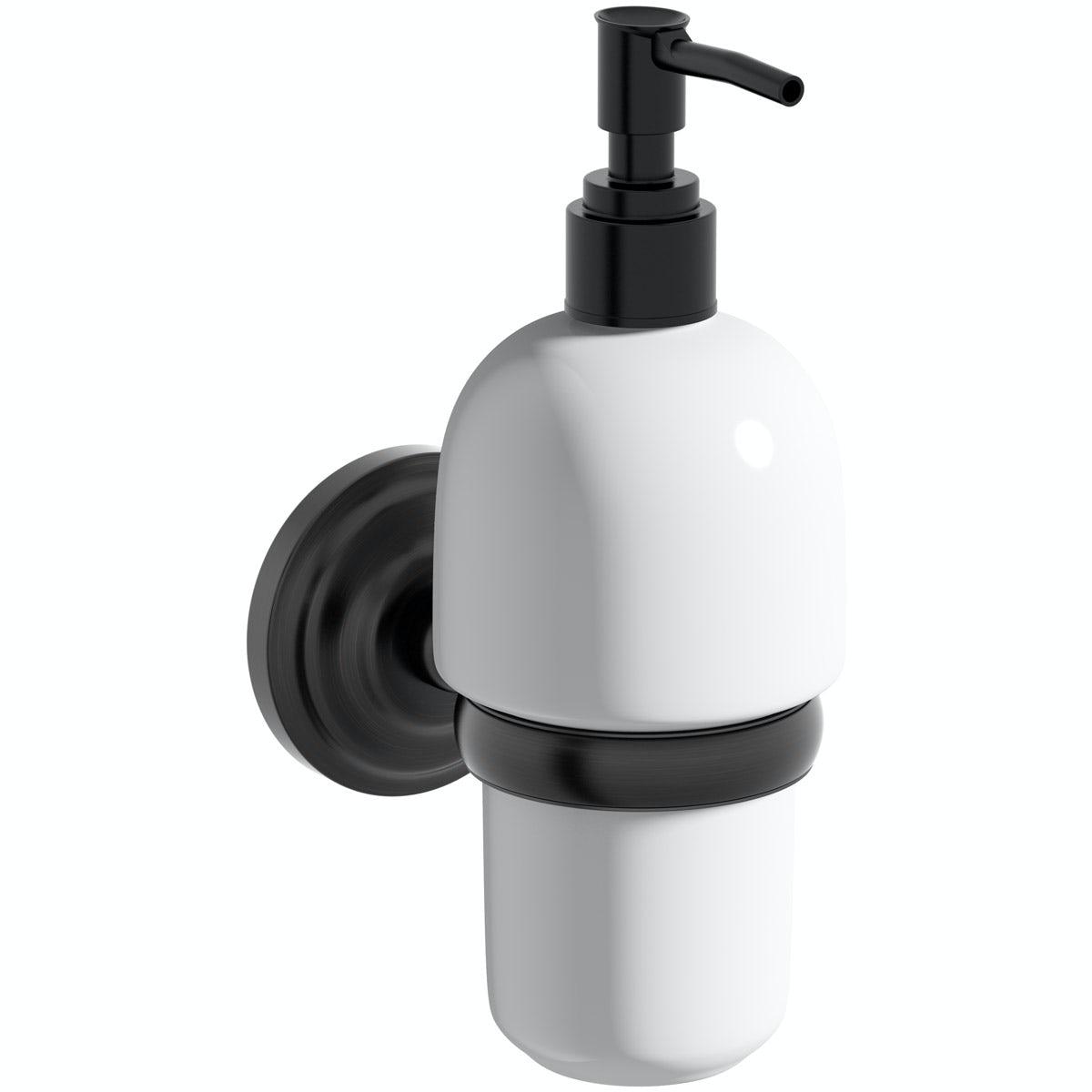The Bath Co. 1805 black soap dispenser and holder