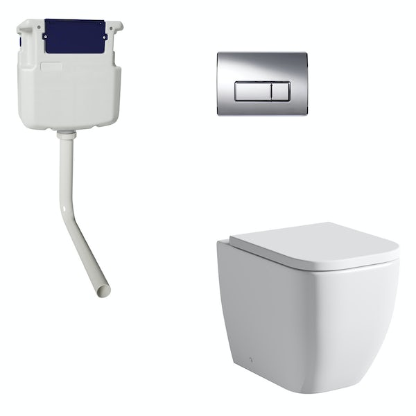 Mode Ellis back to wall toilet with soft close seat, concealed cistern and push plate