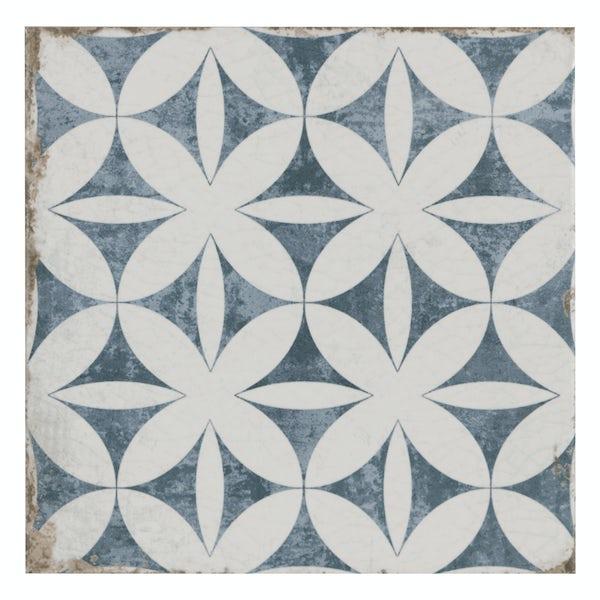 Aragon geo blue matt wall and floor tile 200mm x 200mm