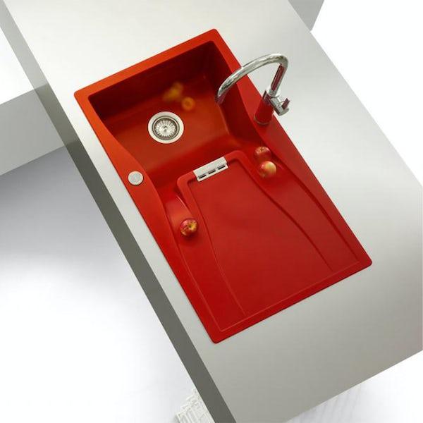 Rangemaster Schock Waterfall 1.0 bowl red granite kitchen sink
