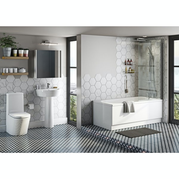 Mode Tate bathroom suite with straight bath, shower and taps