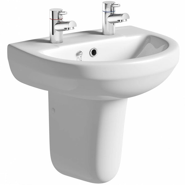 Eden 2 tap hole semi pedestal basin 550mm with waste