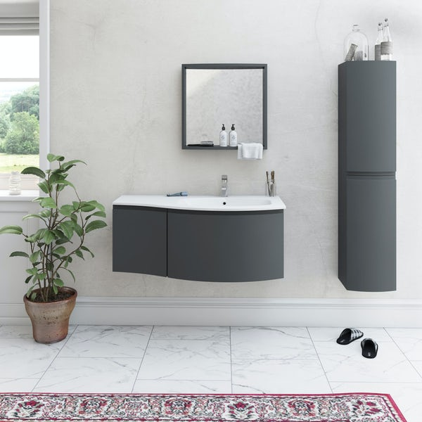 Mode Harrison slate RHF wall hung vanity unit 1000mm