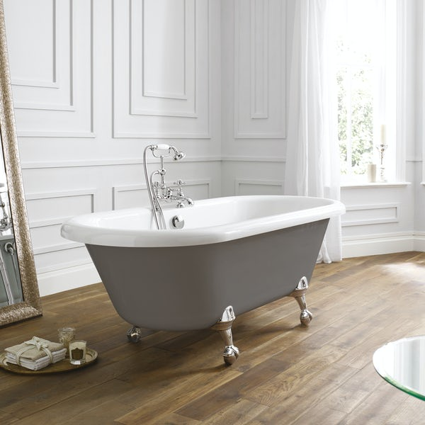 The Bath Co. Traditional grey double ended roll top bath with ball and claw feet 1700 x 750