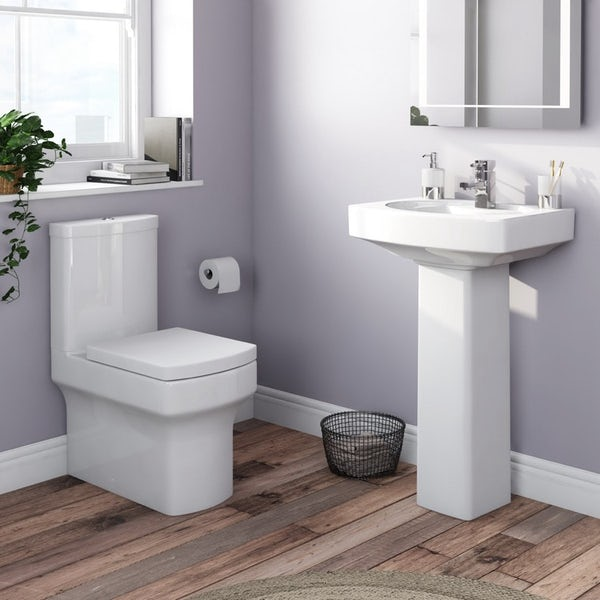 Orchard Wye cloakroom suite with full pedestal basin 555mm with tap and waste