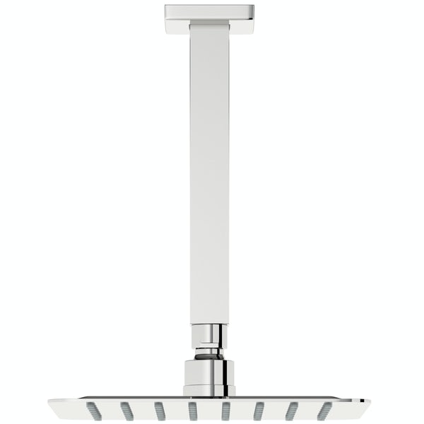 Mode Slim square stainless steel 200mm shower head and ceiling arm