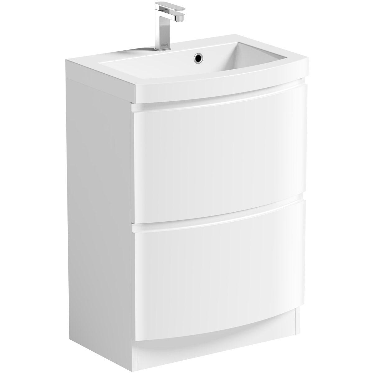 Mode Harrison white floorstanding vanity drawer unit and basin 600mm