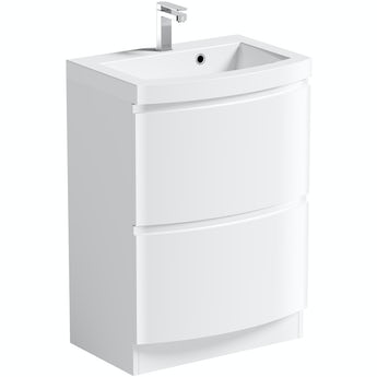 Mode Harrison white floorstanding vanity drawer unit and basin 600mm