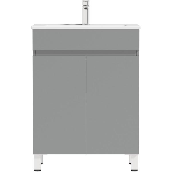 Orchard Thames satin grey floorstanding vanity unit and ceramic basin 600mm