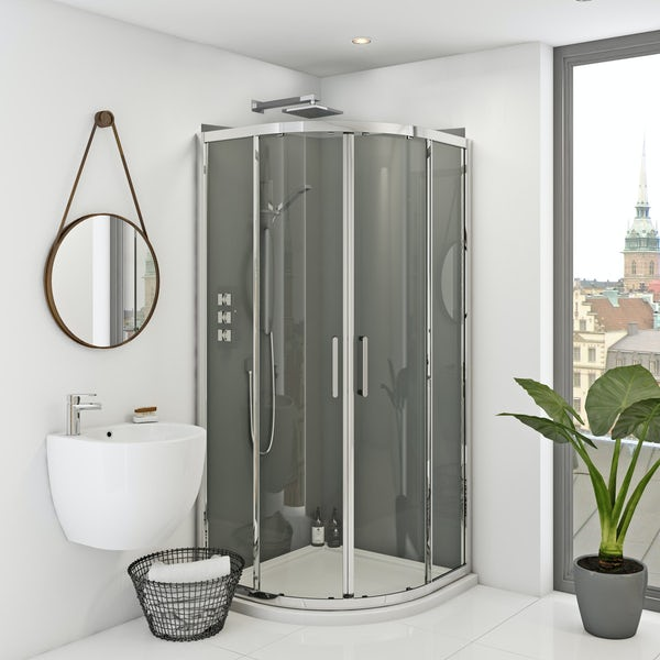 Zenolite plus ash acrylic shower wall panel corner installation pack 1000 x 1000