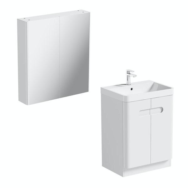 Mode Ellis white vanity door unit 600mm and mirror cabinet offer