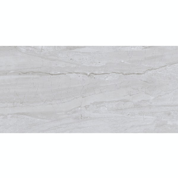 Comet mid grey marble effect gloss wall and floor tile 300mm x 600mm