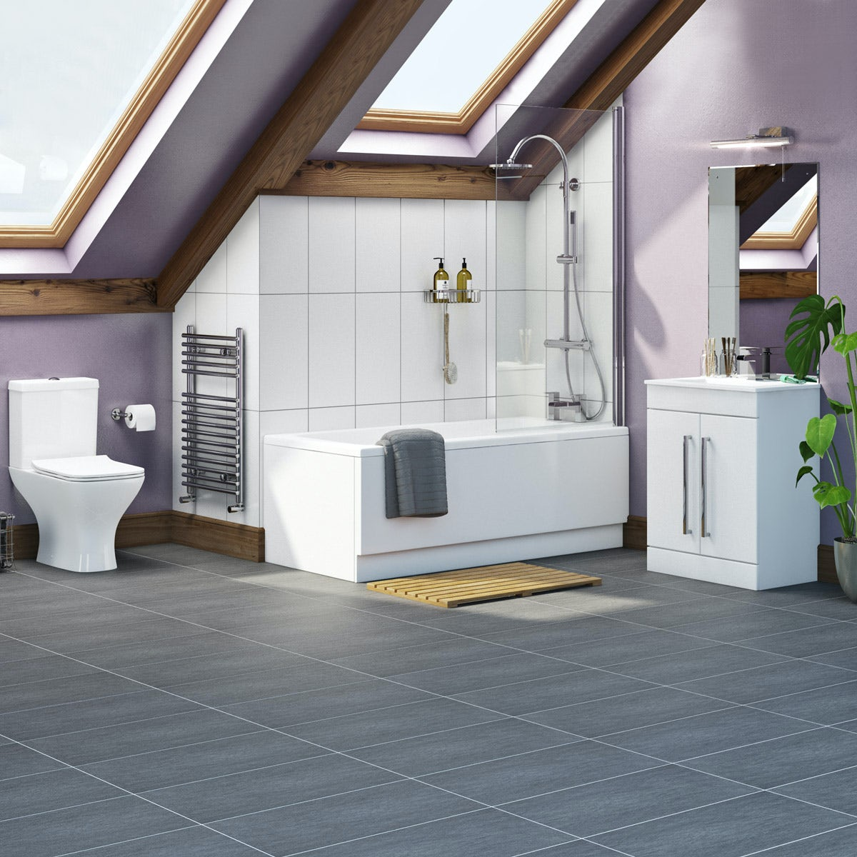 Orchard Derwent complete bathroom suite with straight ...