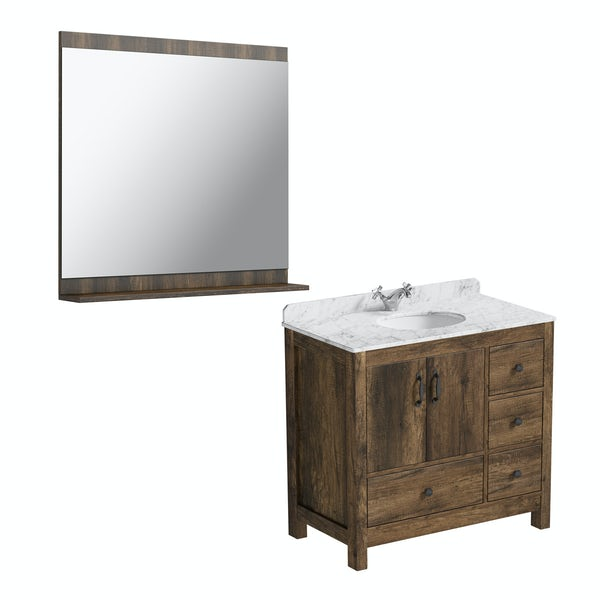 The Bath Co. Dalston vanity unit and white marble basin 900mm with mirror