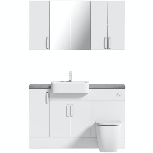 Mode Nouvel gloss white small fitted furniture & storage combination with pebble grey worktop